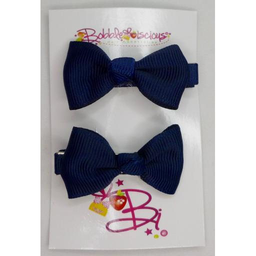Navy Blue 4cm Bow Clasps