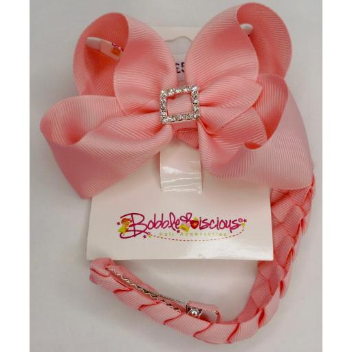 Sweet Pink Bunwrap with 4inch Boutique Bow and Pleated Tail