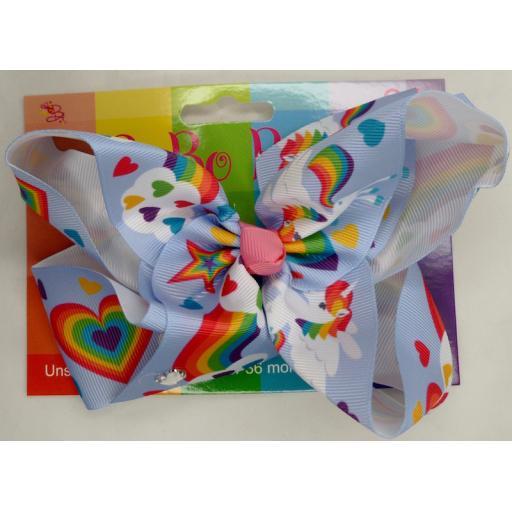 Blue Unicorn with Lollipop 6inch BoBo Bow with Diamond Heart Charm