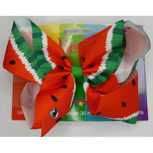 Watermelon 6inch BoBo Bow with Diamond Heart Charm