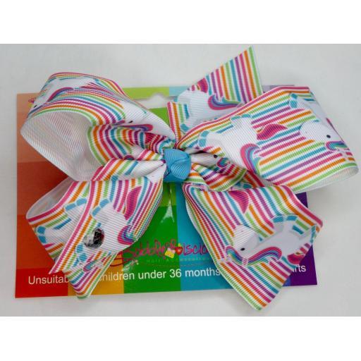Multicolour Striped Unicorn 6inch BoBo Bow with Diamond Heart Charm