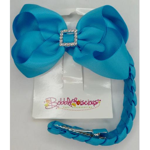 Turquoise Blue Bunwrap with 4inch Boutique Bow and Pleated Tail