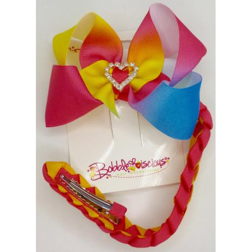 Ombre Multicoloured Bunwrap with 4inch Boutique Bow and Pleated Tail